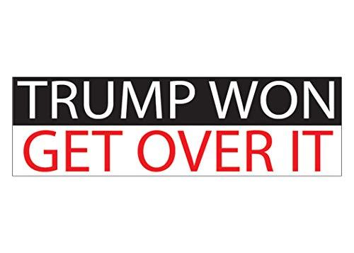 Trump Won Get Over It Patriotic Bumper Sticker Auto Decal Conservative Republican USA Flag American Patriot
