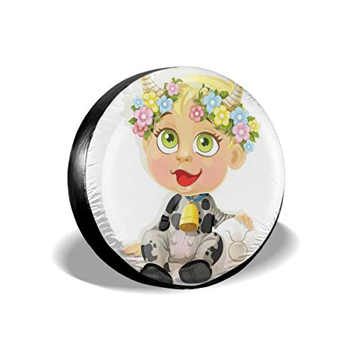 (GULTMEE Tire Cover Tire Cover Wheel Covers,Happy Baby with Little Horns and Flowers Cow Bell and Costume Kids Cartoon,for SUV Truck Camper Travel Trailer Accessories(14,15,16,17 Inch) 16)