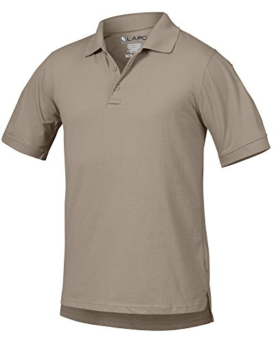 - LA Police Gear Men Antiwrinkle Operator Tactical Short Sleeve Polo Shirt - Silver Tan - XL