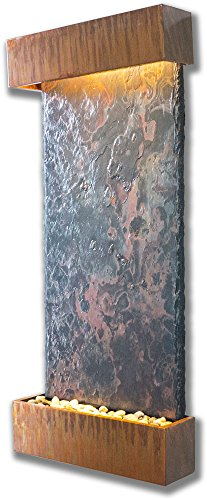 Water Wonders Large Nojoqui Falls with Copper Patina Trim (Indoor Copper Wall Fountain)