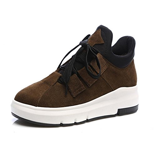 Sneakers Shoes KHAKI Shoes Woman's Leather Increased 37 Casual NSXZ Frosted C1xgwnq7S