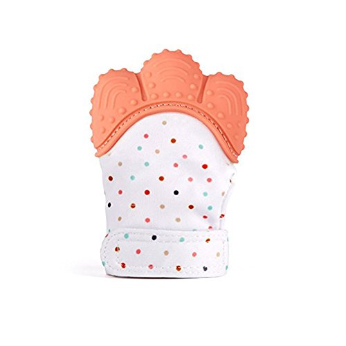 Baby Teething MittenBaby Self-Soothing Pain Relief Silicone Teething Glove for 3-18 months Infant Babies (1PC Orange red