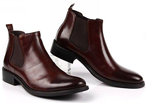 a786a0da0ab85 Jsix Botas Chelsea de cuero para hombre Negro Marrón Zapatos De Vestir De  Piel  Amazon.es  Zapatos y complementos