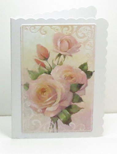 - Handmade Pink Roses Blank Greeting Card with Scalloped Edges & Pink Pearl Swirl Corners
