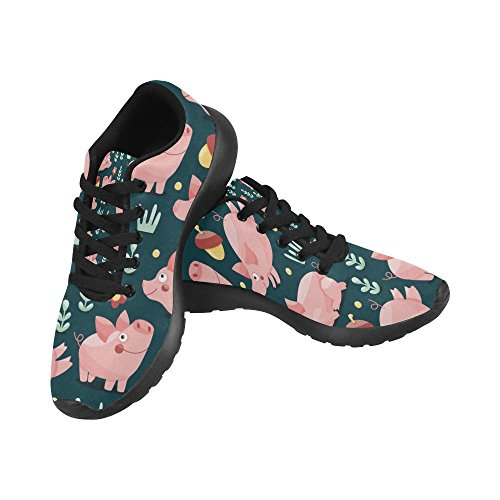 InterestPrint Women's Cross Country Trainer Trail Running Shoes Jogging Lightweight Sports Walking Athletic Sneakers Cute Pigs Plants and Acorns Size 8 B(M) US = EUR38
