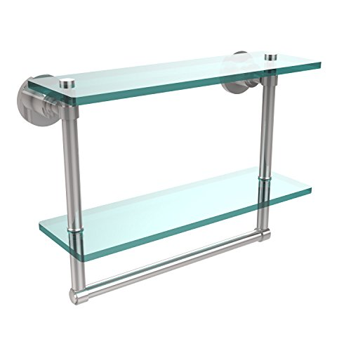 Allied Brass WS-2TB/16-PC 16-Inch Double Glass Shelf with Towel Bar by Allied Brass