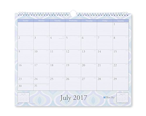 "Blue Sky 2017-2018 Academic Year Wall Calendar, Twin-Wire Bound, 15"" x 12"", Boca"