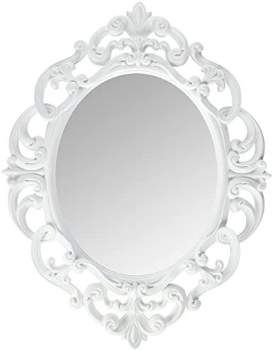 Kole Imports Oval Vintage Wall Mirror, White, 11.5 x 15 Inch 2 Pack