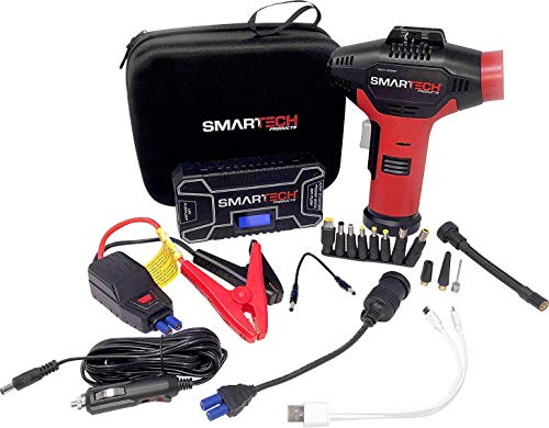 Smartech Power Kit | 12000mAh Battery - 500 Amp Car Jump starter | 150 PSI Air Pump Air Compressor | Jump Start Auto 60 Times on Single Charge - 12 Volt Power Station for Phones, Computers, Appliances