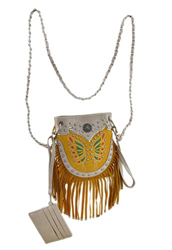 Body Bags And Fringe Womens Purse Butterfly Cross Yellow Western Embroidered Cross Vinyl Body Style CPtwfqn