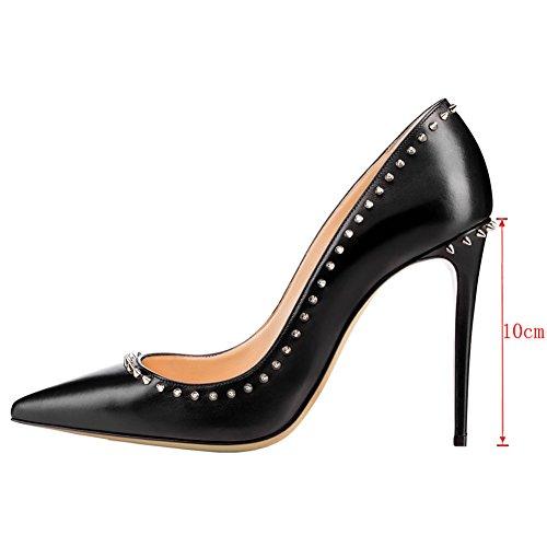 EKS - Zapatos de tacón alto con remaches Mujer Negro - Schwarz-10cm-matt