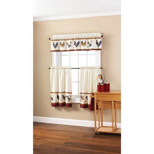 Cabin Window Treatments (3 Piece Red Rooster Kitchen Tiers Valance Set 58 X 36 Inch, White Color Chicken Kitchen Curtains Log Cabin Lodge Cottage Animal Print Window Treatment Morning Country Themed Traditional Rustic, Cotton)