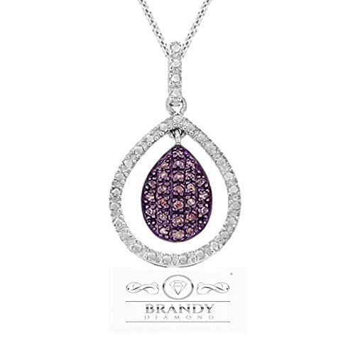 Brandy Diamond 14k White Gold Silver Chocolate Brown Lovely Floating Teardrop Pendant Necklace 1/4 Ctw.