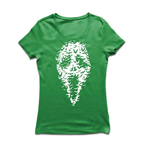 lepni.me Women's T-Shirt Ghost Scary Face Bats, Halloween Party Costume (X-Large Green Multi Color) -
