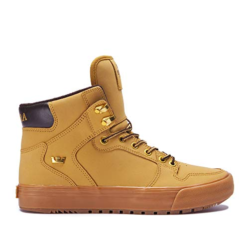 Supra Footwear - Vaider Cold Weather High Top Skate Shoes, Amber Gold-Light Gum, 6.5 M US Women/5 M US Men