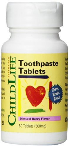 Gum Disclosing Tablets (Child Life Toothpaste Tablets, Natural Berry Flavor, 60 Count)