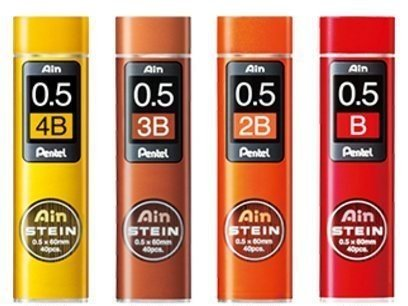 (Pentel Ain Stein Mechanical Pencil Lead, 0.5mm B,2B,3B,4B (40 Leads) 1 Each + Original 5 Colors Sticky Notes)