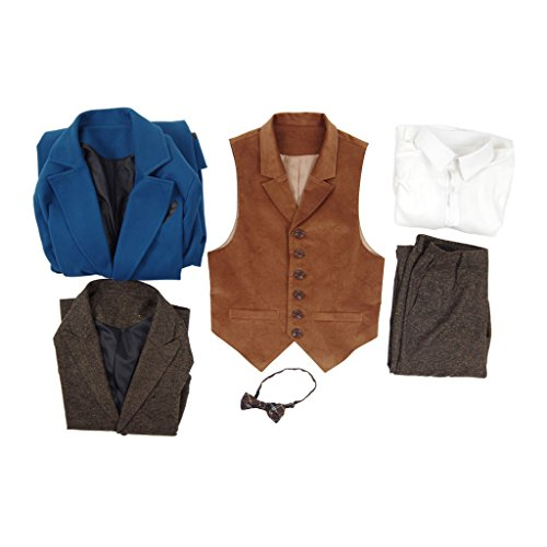 Xiao Maomi Mens Cosplay Costume Blue Overcoat Winter Suits Blazer Trench Coat (Man-M, Full Set) by Xiao Maomi (Image #6)'