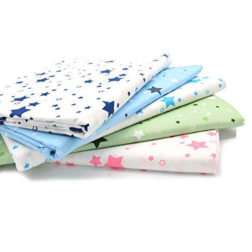 Fat Quarter Fabric Bundles Pre-Cut Quilting Cotton Twill Printed Assortments,Good Quality Craft Cloth Bundle Squares,DIY for Sewing Crafting Rose Flavor(Star 5pcs,18 by - Twill Assortment