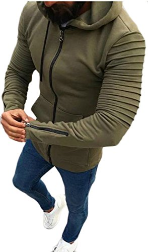 Pandapang Men's Basic Zipper Hooded Pocket Ruched Jacket Coat Outwear Army Green XS (Pocket Jacket Ruched)