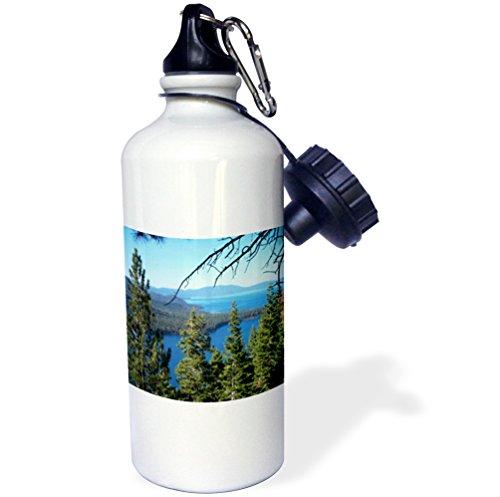 3dRose wb_26409_1 ''Fallen Leaf Lake and Lake Tahoe South Shore'' Sports Water Bottle, 21 oz, White by 3dRose