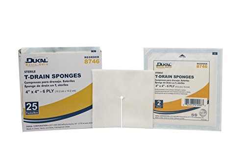 Dukal 8746 Basic Care T-Drain Sponge, Sterile, 6-Ply, 4'' x 4'' (Pack of 600) by Dukal (Image #1)