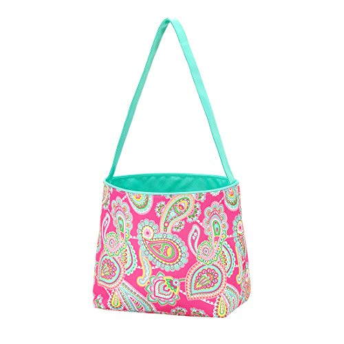 (Polka Dot Stripe Fabric Bucket Basket Tote Toy Storage Container (Non-Personalized, Lizzie Pink Paisley))
