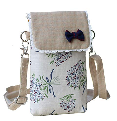 YaJaMa Canvas Flower Women Shoulder Crossbody Bag Cellphone Pouch Purse Wallet