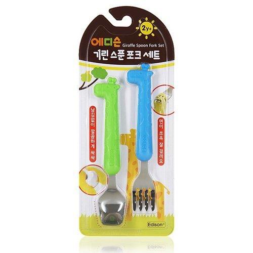 Giraffe Spoon - Global Shipping edison Giraffe Spoon and Fork Set / Silicon / NonToxic Silicone Green/blue (New Green/Blue)