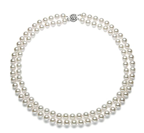 White Pearl Necklace Freshwater 17 - Double Strand AAAA Quality White Freshwater Cultured Pearl Necklace 17