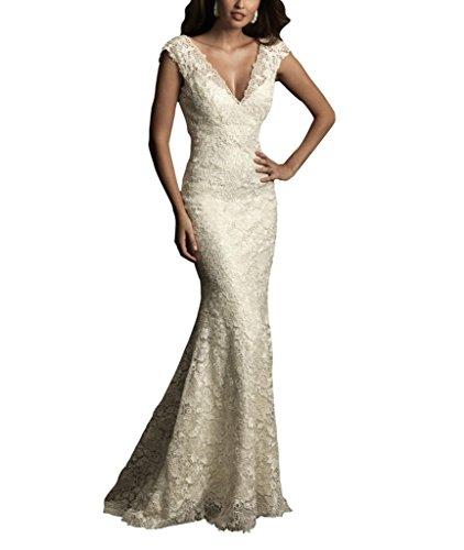 V Spitze applique Ausschnitt Elegantes Elfenbein aermel BRIDE Brautkleider GEORGE Hochzeitskleider XqEpvv