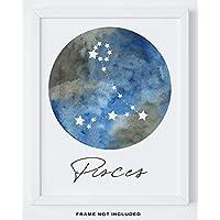 "Pisces Zodiac Astrological Sign Constellation Moon Wall Art - 14x11"" UNFRAMED Print - Star Sign Print, Astrology Wall Decor - Pisces Gifts"