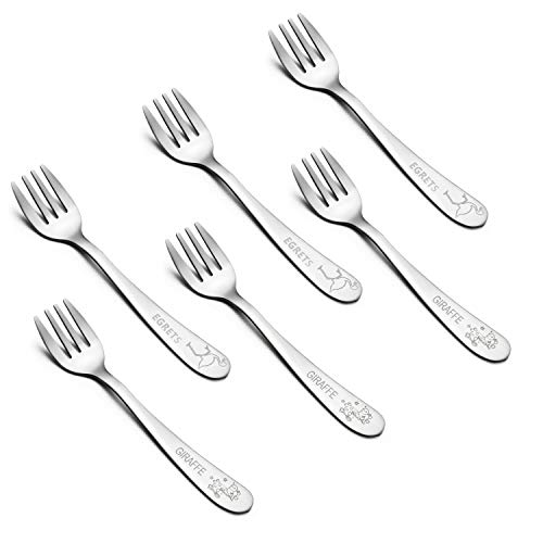 - Kids Forks, E-far Stainless Steel Toddler Baby Fork Set, BPA Free & Cute Animals Pattern, Matte Polished & Dishwasher Safe - 6 Pack