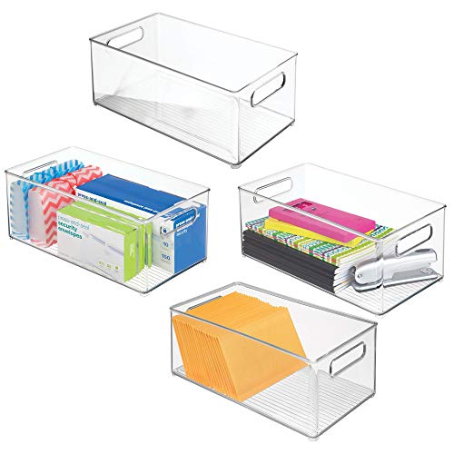 (mDesign Office/Desktop Storage and Organization Bin - Pack of 4, Deep,)