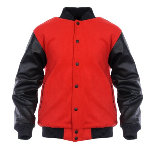 Angel Cola Red & Black Retro Varsity Wool & Synthetic Letterman Jacket Red(Body) / Black(Sleeve) Small