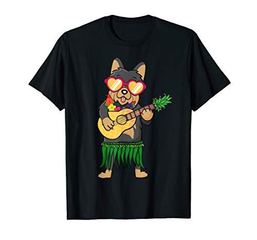 - Yorkshire Terrier Hawaiian Costume Ukulele Summer Tshirt