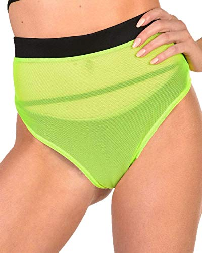 iHeartRaves Nightdrive Neon Mesh Booty Shorts (Neon Green, Large)