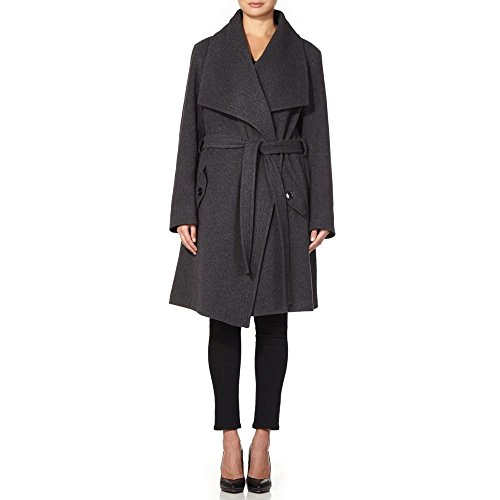 Anastasia Gris Wrap Belted Wool Coat Winter Collar Large Cashmere Womens PgZxfqrnUP