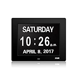 SSA Calendar Day Clock with Large Clear Time Day and Date display, Wall hanging or Desk/Shelf clock ideal for Impaired Vision & Memory Loss.Fathers Day Gifts 8 Inch