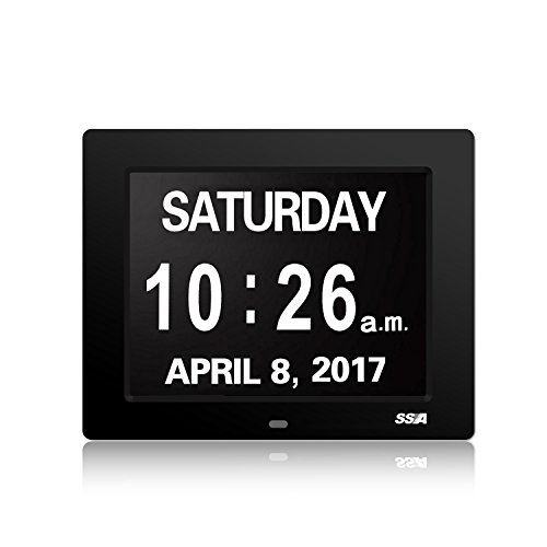 SSA Calendar Day Clock with Large Clear Time Day and Date...