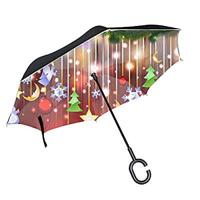 Holiday Christmas Ornaments Large Inverted Double Layer Reverse Folding Umbrella - Windproof, UV Protection, C-Shape Hands-Free Handle for Car Rain Sun