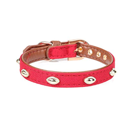 Red Pet Online Pet Collar Metal Nail Decoration pu Leather Dog collarred