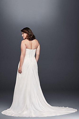Draped Plus Beaded Size Style Dress Chiffon Wedding 9WG3872 Soft White rErRqwBd