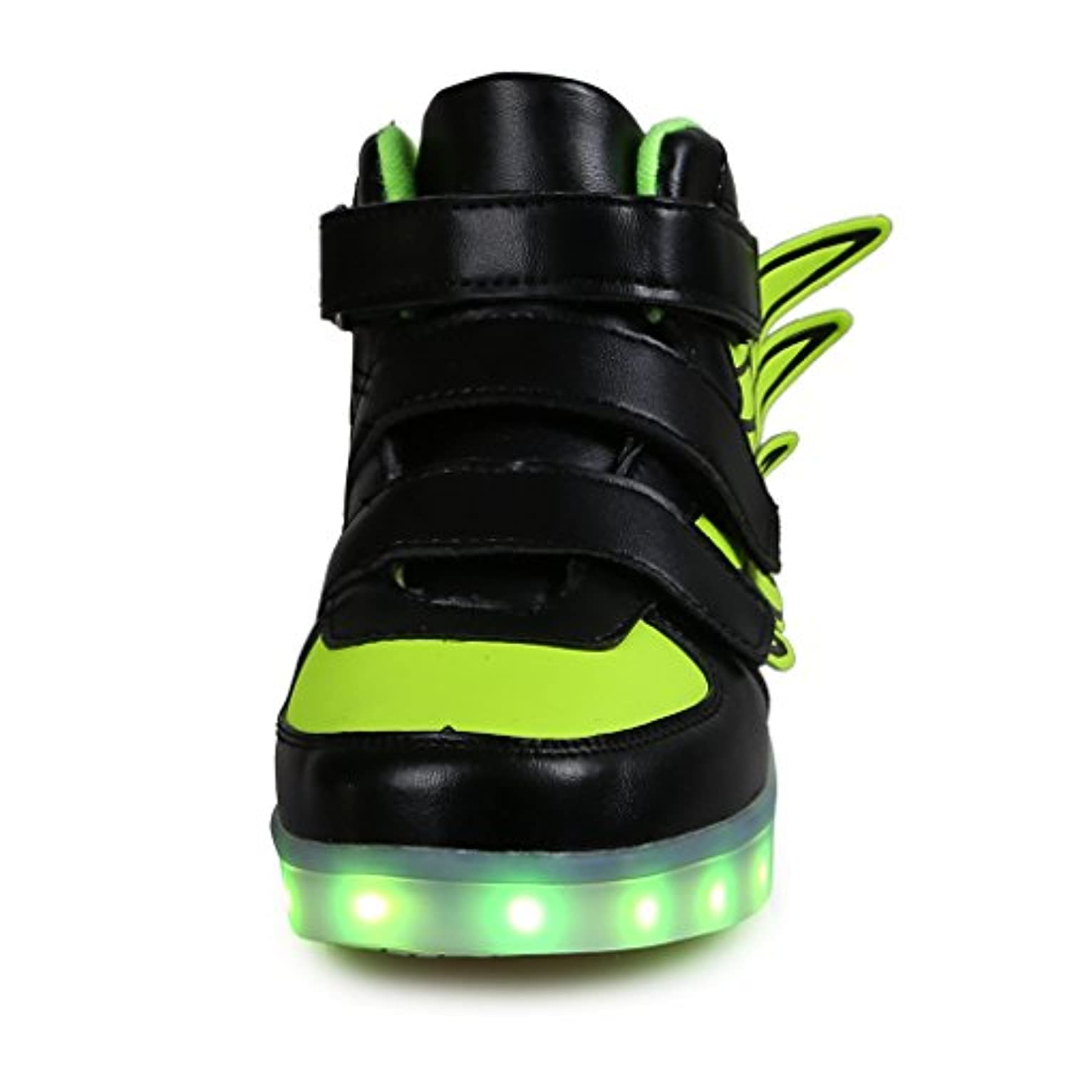 SAGUARO Unisex Kids' USB Rechargeable LED Sport Shoes Flashing Fashion Wing Sneakers Black Size 8