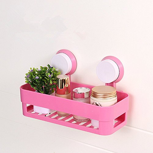 AUCH Multi-function Wall Mounted Bathroom/Kitchen Plastic Storage Organizing Shelf Rack/Holder/Corner Basket with Double Suction Cup,Hot Pink