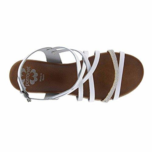 Sandalias piel con brillos BLANCO