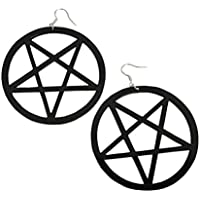 9CM Punk Large Pentagram Earring Large Hoop Pentacle Gothic Ear Studs Fashion WelcomeShop