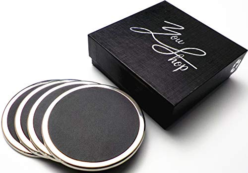 YouShop Luxury Coasters for Drinks - Premium Metal, Black Leather, Velvet Base | Contemporary & Clean Style, Modern Coaster Set for Home Decor, Living Room, Kitchen | Protect Furniture by YouShop (Image #6)