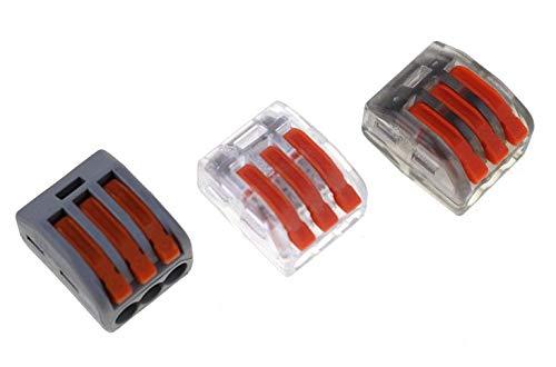 Davitu 222-413(PCT-213) Universal Compact Wire Wiring Connector,mini Connector,3 Conductor Terminal Block Transparent white 50PCS - (Color: grey, Pins: 50PCS)
