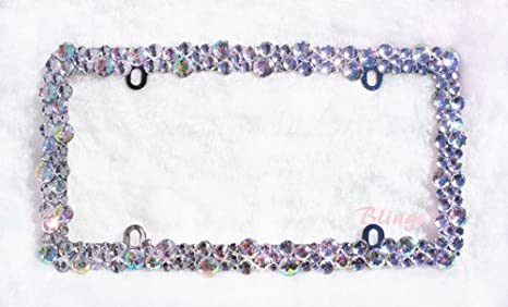 Amazon.com: BLING Crystal AB color Rhinestone license plate frame ...